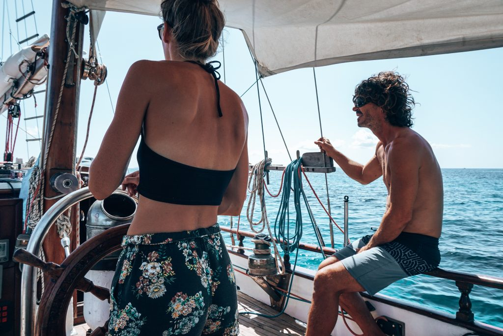 Zeilboot Ibiza schipper
